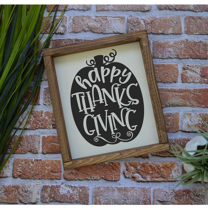 Happy Thanksgiving Wood Sign-Thanksgiving Decor-Fall Home Decor-Entry Way