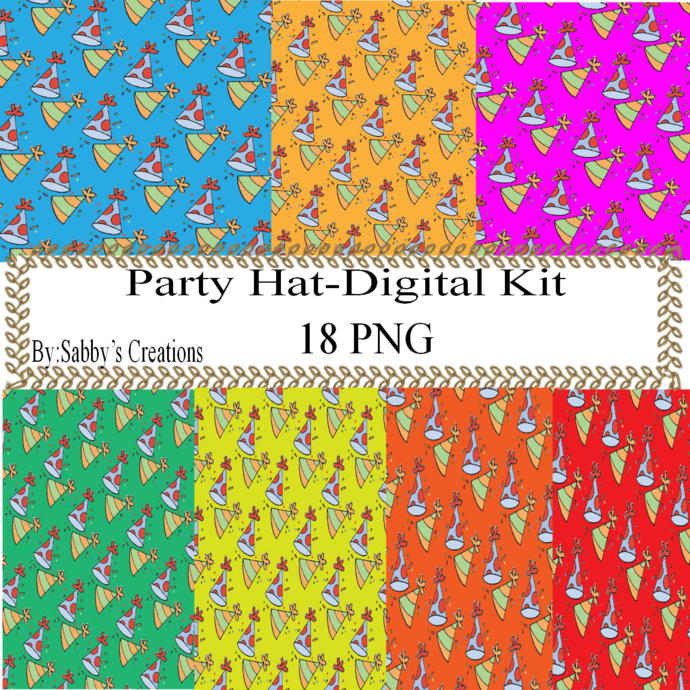 Party Hat 1a Digital Kit-Jewelry Tag-Clipart-Art Clip-Gift Tag-Holiday-Digital