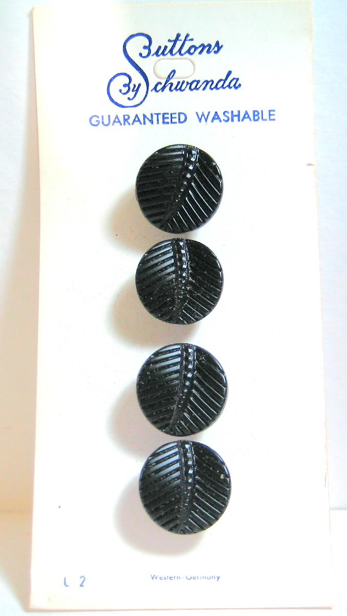 Black Glass Leaf Buttons 4687-6, Vintage 1950's