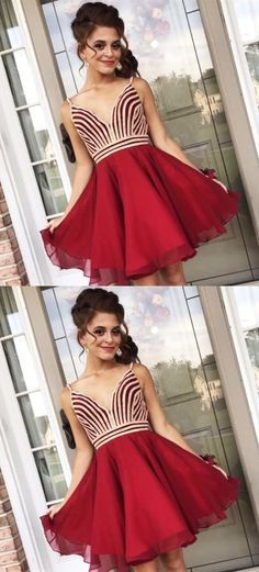 A-Line V-Neck Sleeveless Red Chiffon Homecoming Party Dresses