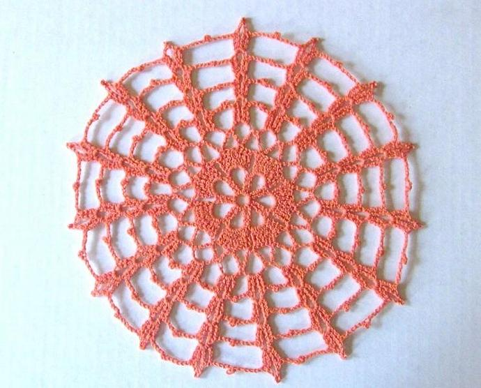 New Handmade Crochet Cotton Spiderweb Doily for sale