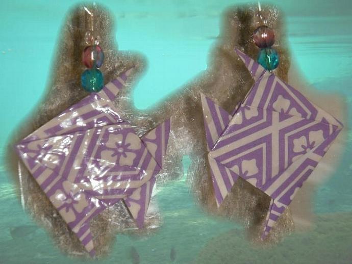 purple Origami tropical Fish Earrings