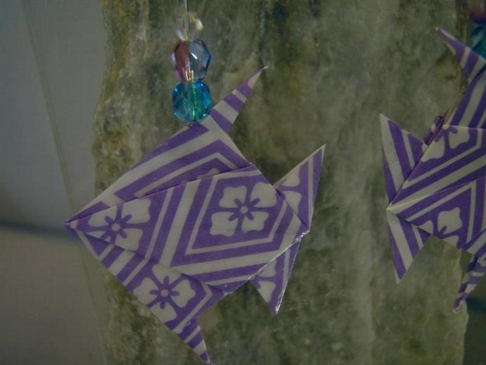 purple Origami tropical Fish Earrings