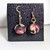 Cloth Flower handmade earrings black, pink and red