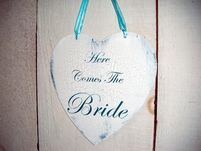 Wedding Sign, HERE COMES THE BRIDE Heart shaped