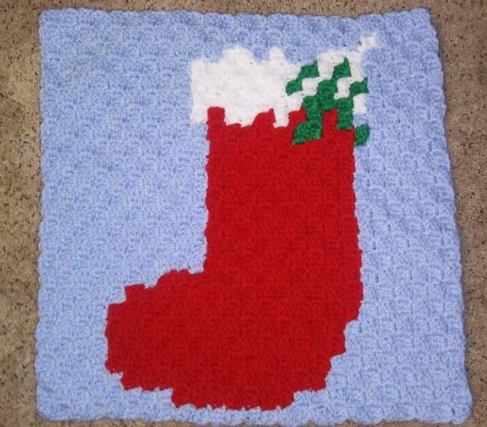 Christmas Stocking Crochet Pattern Throw Pillow PDF Graph Row by Row Written