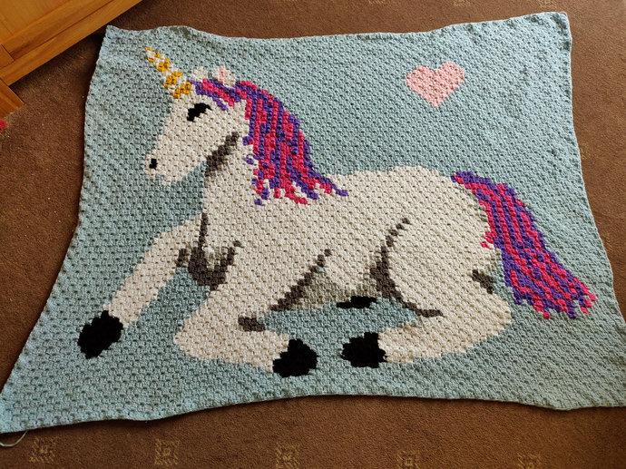 Baby Unicorn Love Crochet Pattern Corner to Corner PDF Graph Written Color Block
