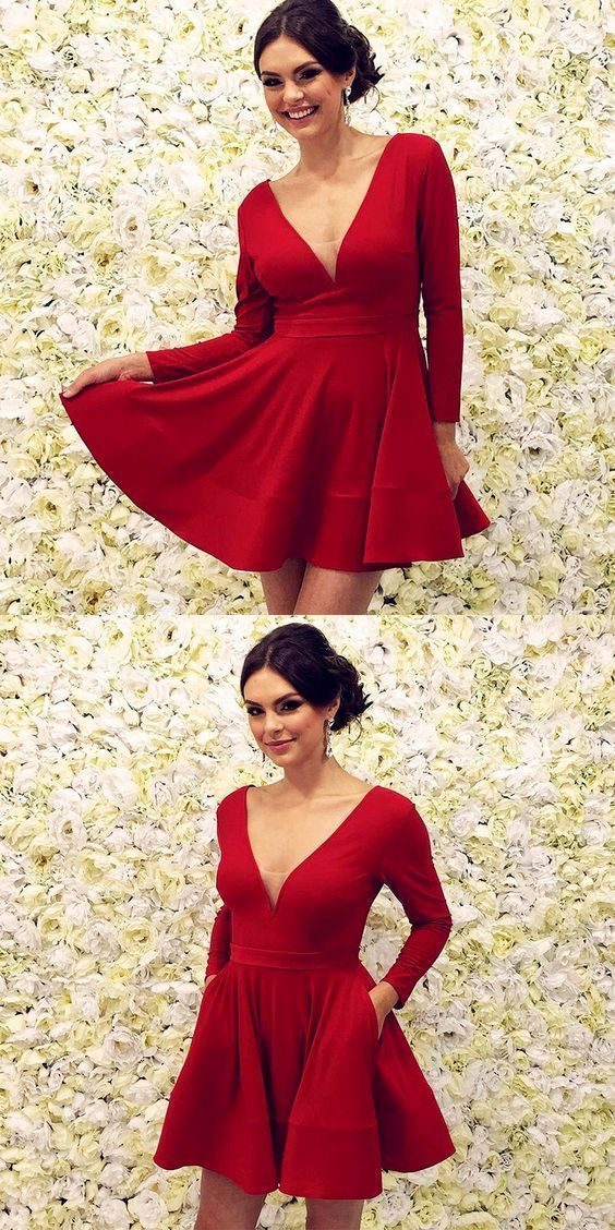 Charming V neck Red Prom Dress, Long Sleeve Mini Evening Party Gowns