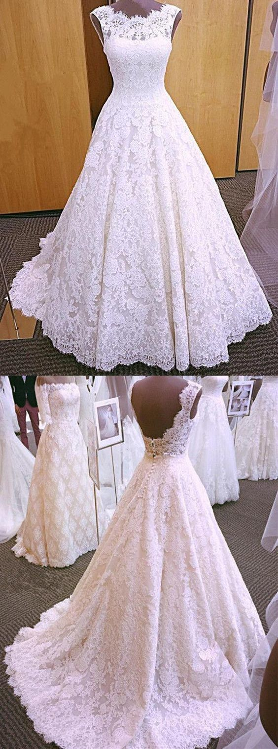Elegant White Lace Appliques Open Back Ball Gown Wedding Dress, Formal Bridal