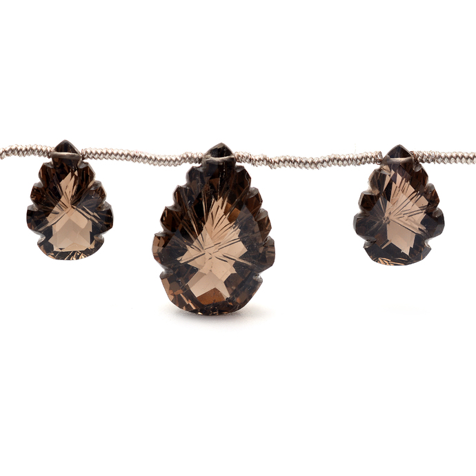 Smoky Quartz Faceted Carved Fancy Lazel cut Flawless drilled Loose Gemstone