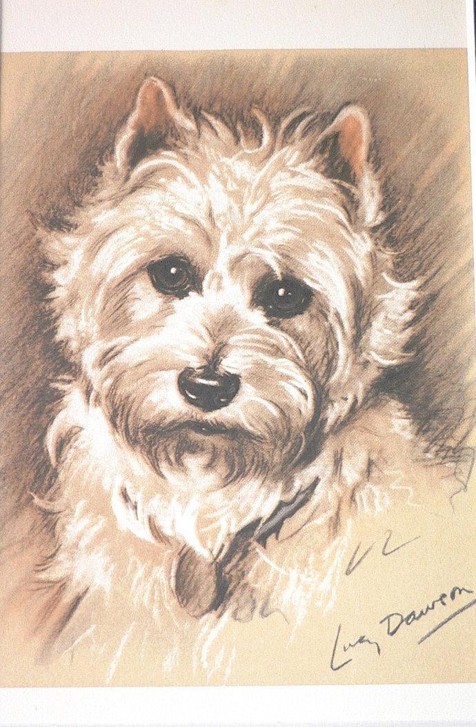 WEST HIGHLAND TERRIER Westie Vintage mounted 1939 Lucy Dawson Mac dog plate