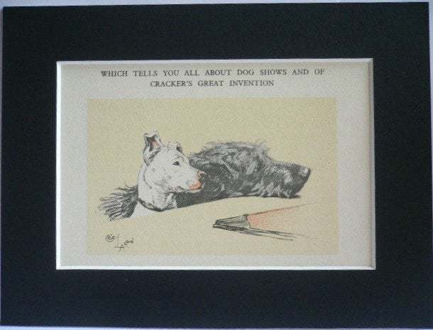 Bull terrier & Irish Wolfhound Signed mounted vintage 1928 Cecil Aldin dog plate