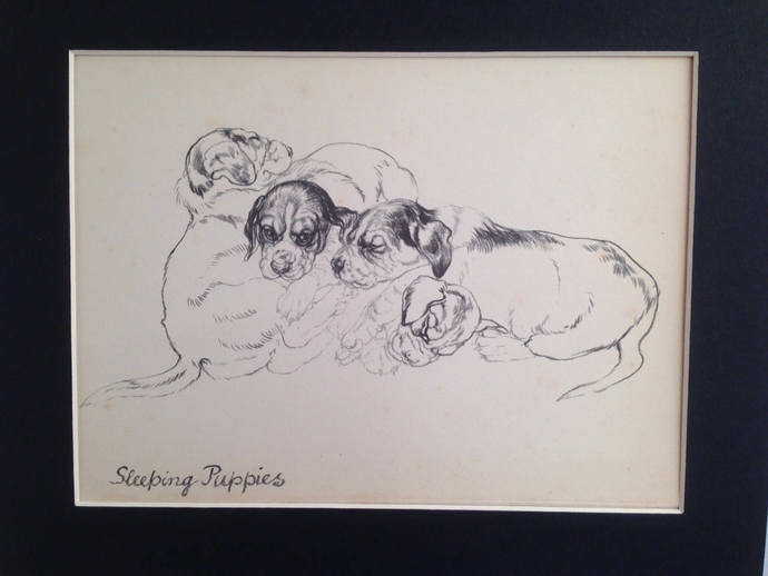 1937 hound dogs Vintage mounted Vere Temple dog plate print sketches Unique