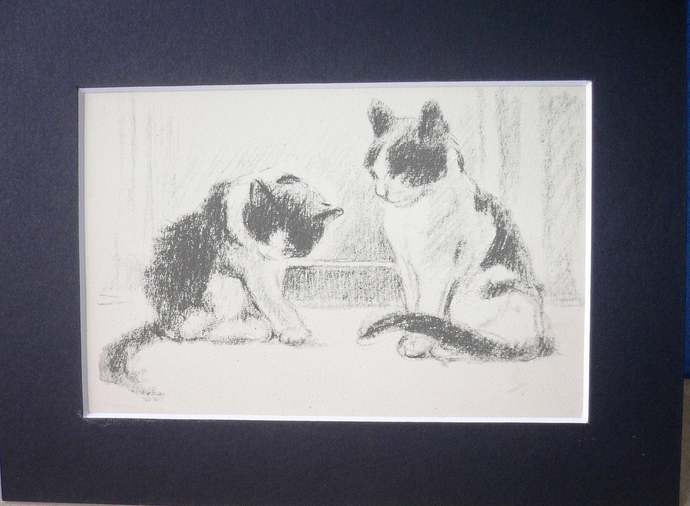 CAT KITTEN print Vintage Mounted 1946 Lucy Dawson 2 cats preening cat
