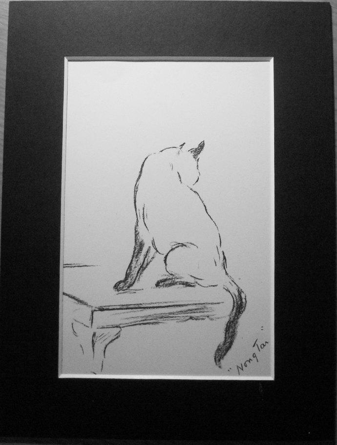 Siamese Cat Vintage Mounted 1936 'Mac' Lucy Dawson - cat kitten plate print
