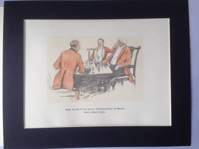 Cecil Aldin Horse Racing Reminiscencing show jumping 1926 Vintage signed mounted