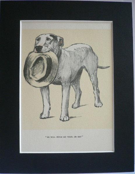 Bull terrier dog Cracker Vintage mounted Hat 1928 Cecil Aldin dog plate print