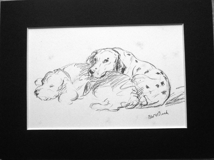 Vintage Mounted 1937 'Mac' Lucy Dawson Dalmatian and Sealyham terrier dog plate