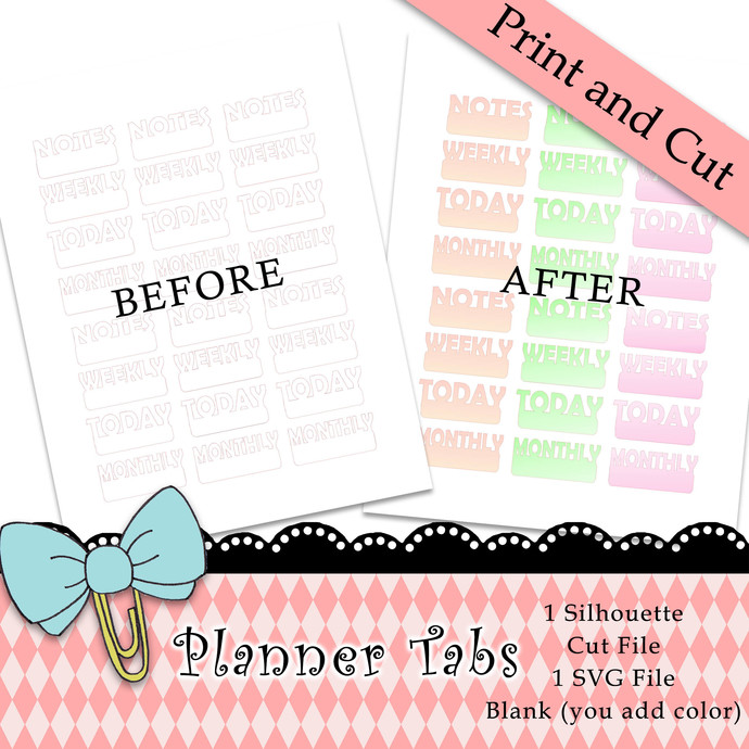 """""""Planner Tabs"""" Print and Cut Download"""