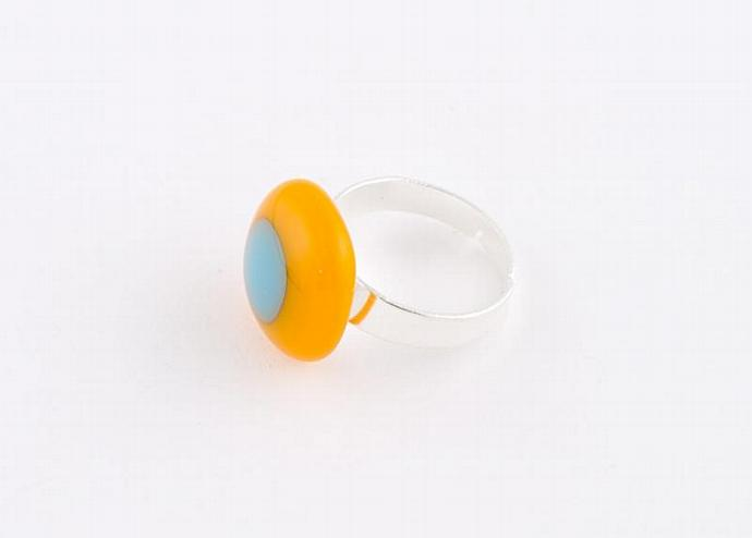 Adjustable Fused Glass Ring in Orange and blue