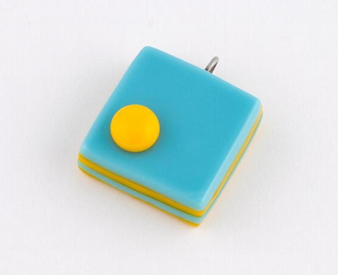 Blue and Marigold Orange Fused Glass Cube Pendant