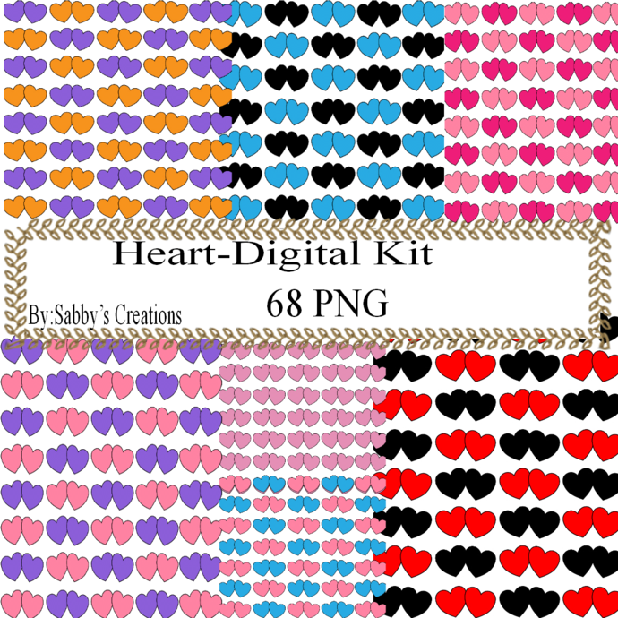 Color Hearts 77 Digital Kit-Jewelry Tag-Clipart-Art Clip-Gift