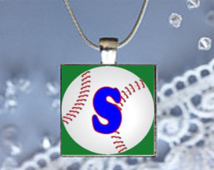 Scrabble Tile Pendant Necklace Baseball with your Initial