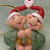 Hugging Turtles with Santa Hats Christmas Ornament