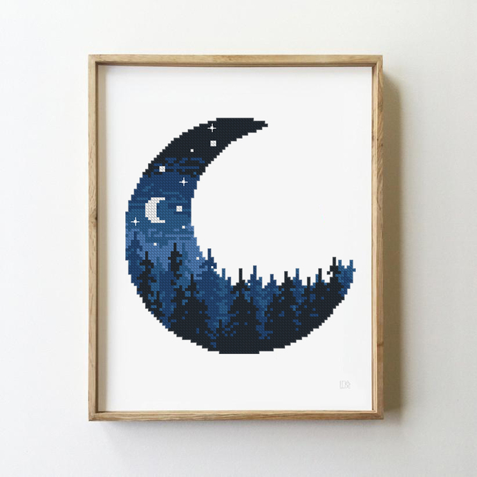 Landscape in half of moon counted cross stitch pattern forest mountains wood
