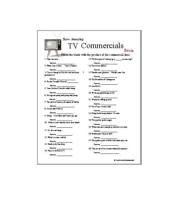 TV Commercials Trivia