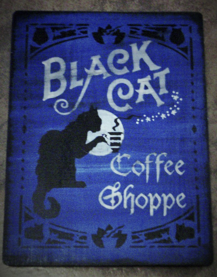 Primitive Witch Sign Black cat Coffee shoppe Witches Halloween Decorations cats