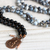 CALM -  Mala Bead Necklace Faceted Crackle Agate and Black Agate  Mala Beads 108