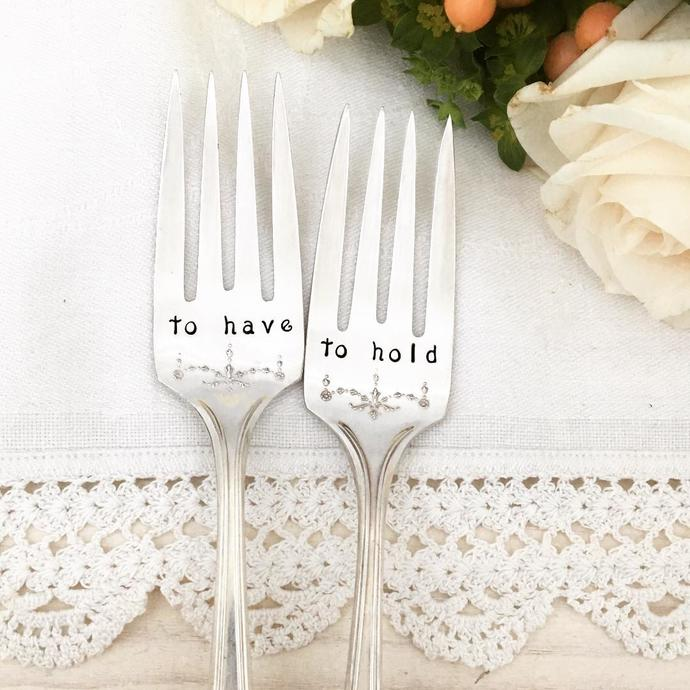 Vintage Wedding Forks - to have and to hold, cake forks, hand stamped silver