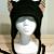BLACK / plaid print KITTY CAT AVIATOR eaflap hat