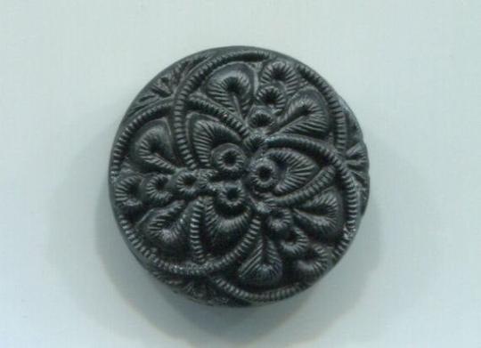 Black Glass Button w/ Metal Shank Czechoslovakia, Pretty Pattern