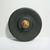 Matte Black Glass Button Metal Shank Czechoslovakian, Floral Pattern