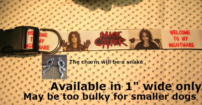 """Alice Cooper, Band, Music, Shock Rock, 1"""" wide adjustable Dog collar, snake"""