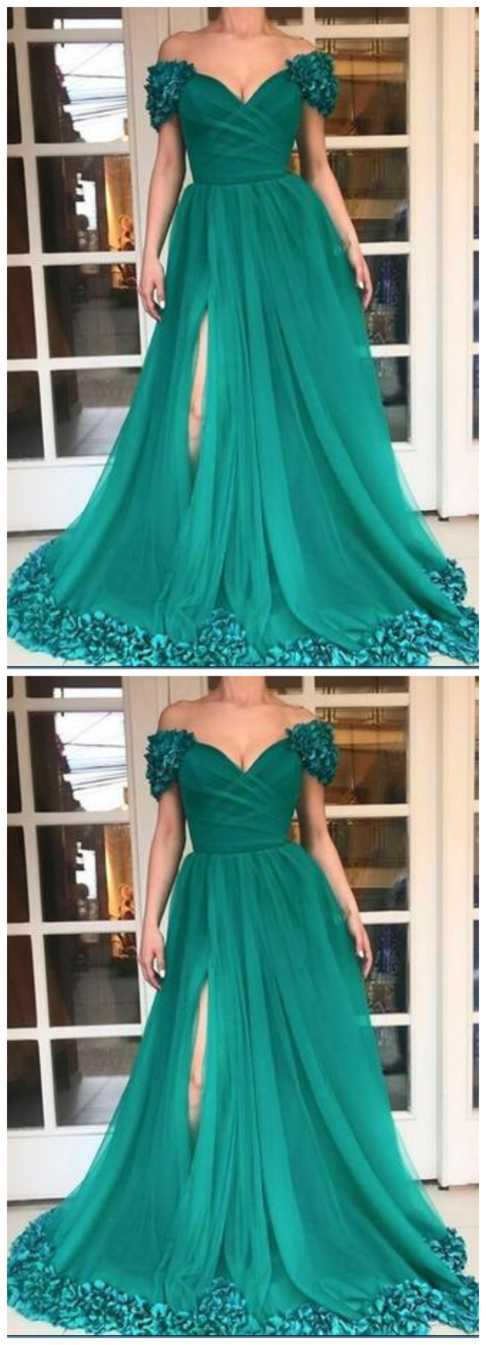 High Split Long Prom Dresses Custom Plus Size Hunter Green Tulle A Line Off