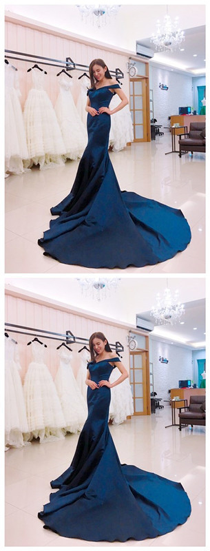 Evening Dress Long 2019 New blue Chic Neck Line Sexy Backless Appliques Organza