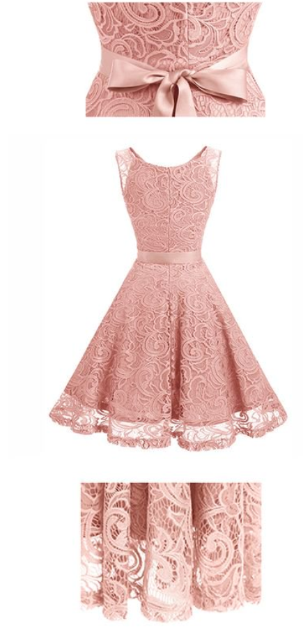 Women's Floral Vintage Lace Dress V-Neck Bridesmaid Swing Prom Cocktail Dresses