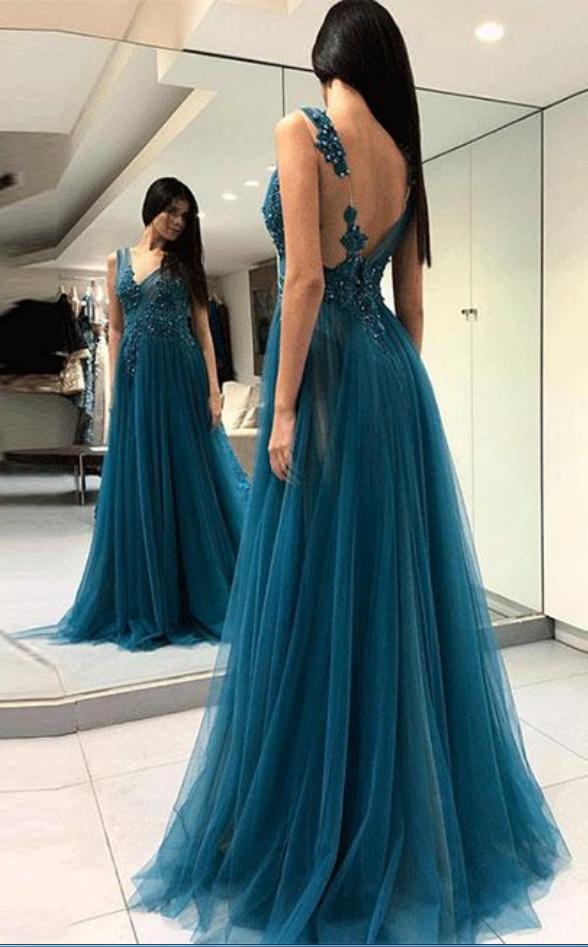 V-neck Long Tulle Prom Dress Lace Appliques Women Evening Dress