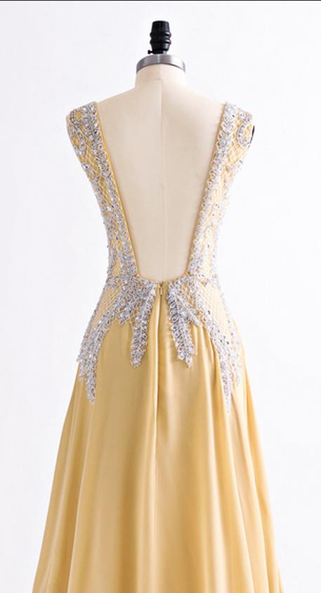 V Neck Long Chiffon Prom Dress Floor Length beaded Women Dress