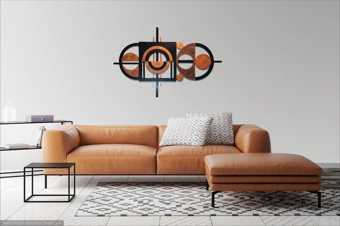 Geometric Sculpture, Abstract Wall Sculpture, Metal wall Art, Wood Wall decor,