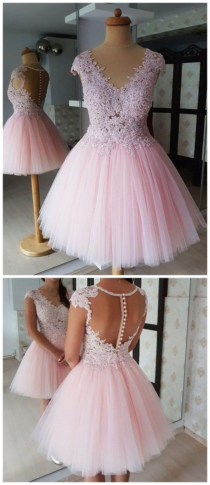 Princess Pink Short Homecoming Dress with Appliques, Sheer Back Graduation Party