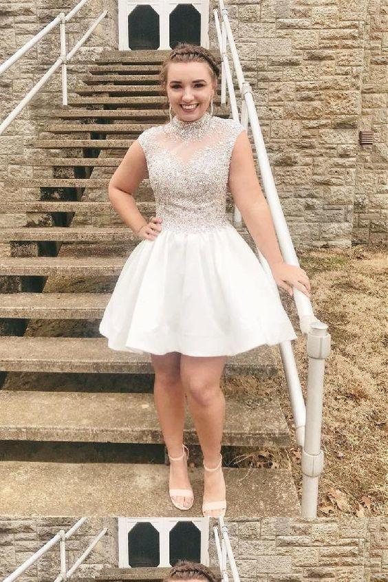 Princess White Short Homecoming Dress, High neck Beaded A Line Prom Dress