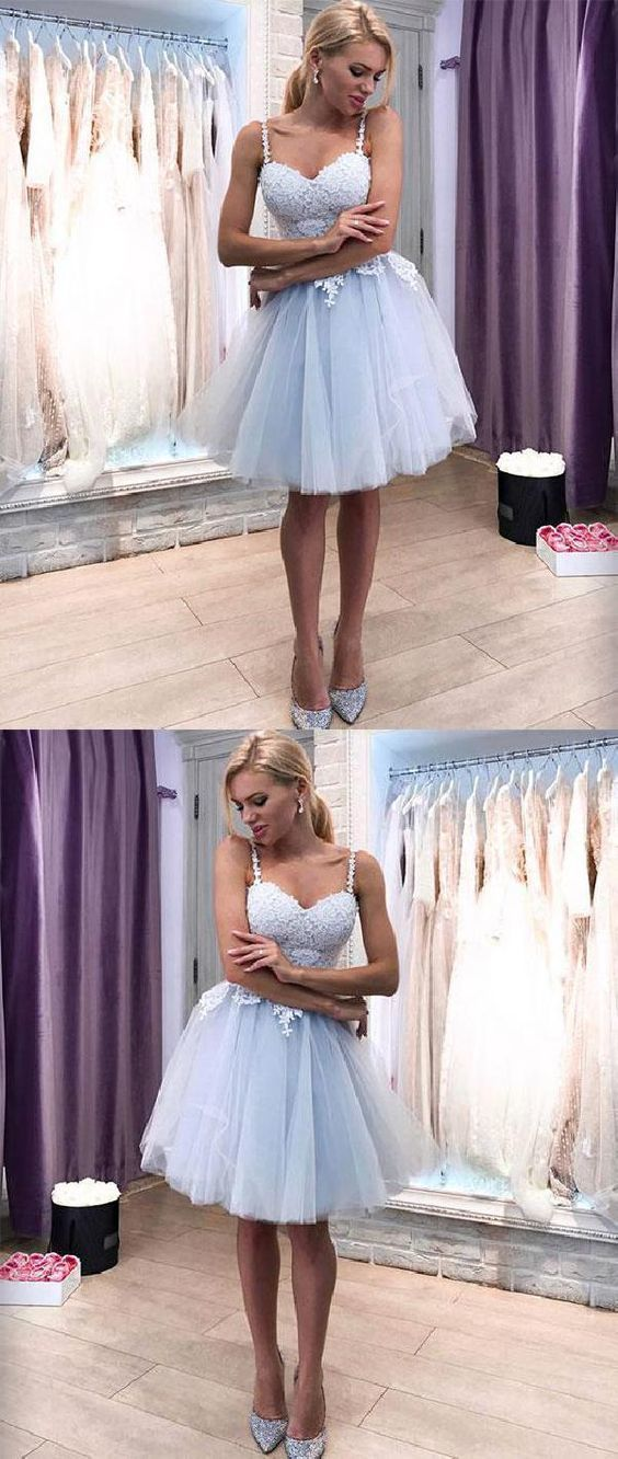 Sale Engrossing Homecoming Dress Blue Blue Tulle Sweetheart Neck Lace Short Prom