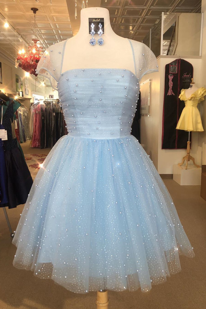 Princess Tulle Sky Blue Short Homecoming Dress with Pearls, Elegant Prom Dress