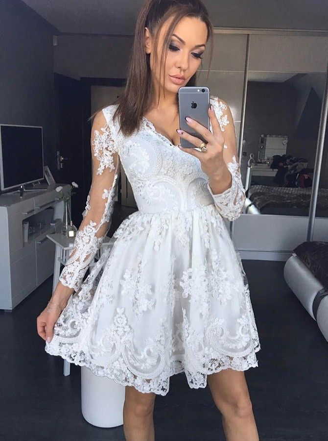 Long Sleeve Lace Short Party Dress, Elegant Appliques Homecoming Dress