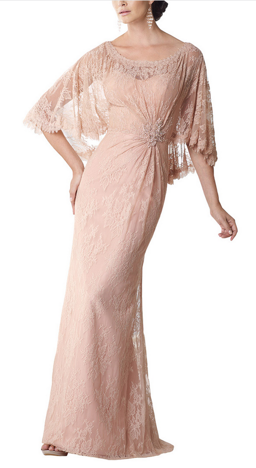 Prom Dress, Graceful Floor-length Shawl Sleeves Mother of the Evening Dress