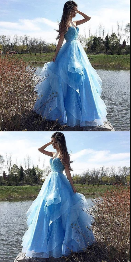Charming Sweetheart Prom Dress, Blue Appliques Evening Dress,Sexy Tulle Long